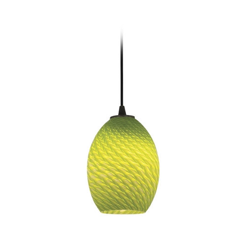 Access Lighting Modern Mini-Pendant Light with Green Glass 28023-2C-ORB/LGRFB