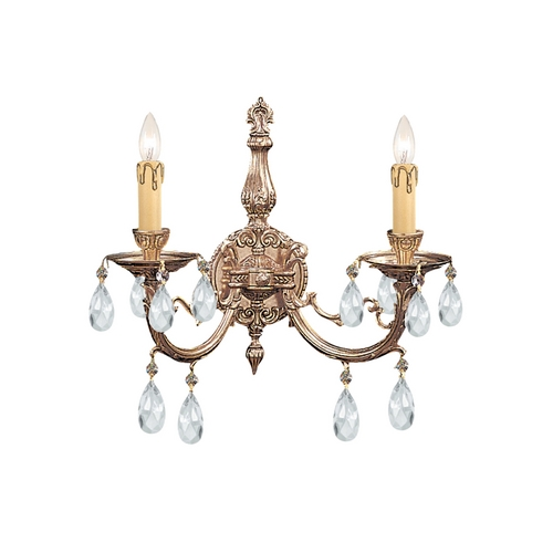 Crystorama Lighting Crystal Sconce Wall Light in Olde Brass Finish 492-OB-CL-SAQ