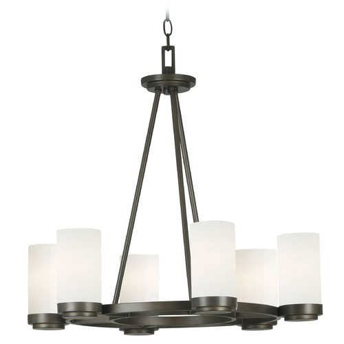 Kenroy Home Lighting Modern Chandelier with White Glass in Satin Bronze Finish 91766SBZ