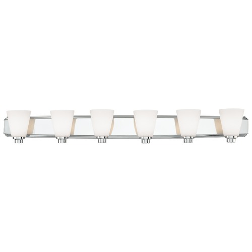 Dolan Designs Lighting Polished Chrome Bathroom Wall Light with Six Lights 3406-26