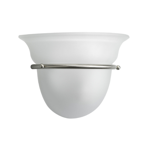 Progress Lighting Progress Sconce Wall Light with White Glass in Brushed Nickel Finish P7181-09