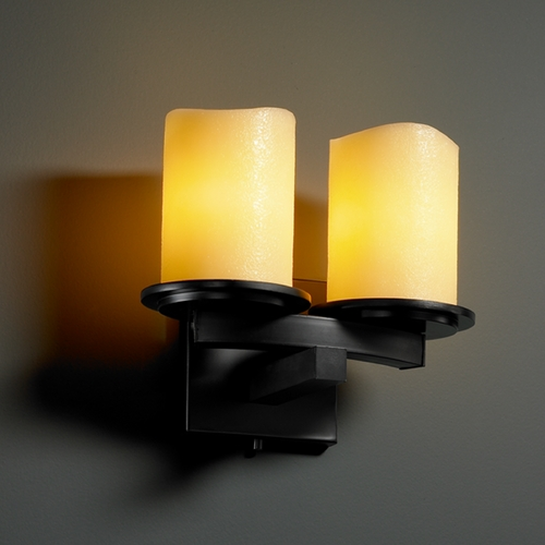 Justice Design Group Justice Design Group Candlearia Collection Bathroom Light CNDL-8775-14-AMBR-MBLK