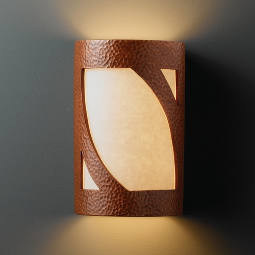 Justice Design Group Outdoor Wall Light with White in Hammered Copper Finish CER-7325W-HMCP