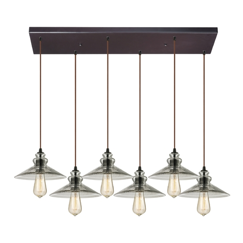 Elk Lighting Multi-Light Pendant Light with Grey Glass and 6-Lights 10332/6RC