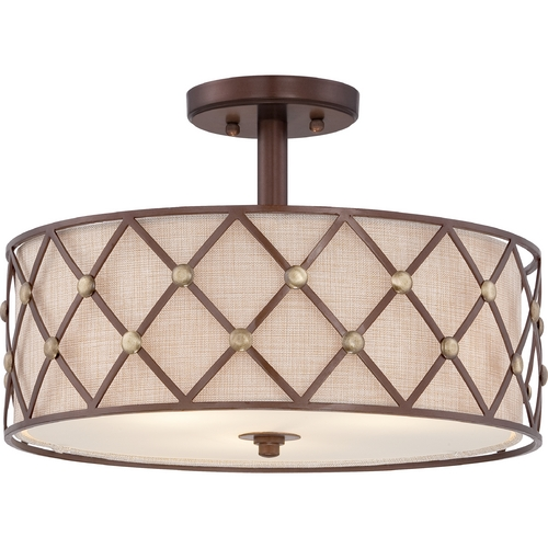 Quoizel Lighting Quoizel Brown Lattice Copper Canyon Semi-Flushmount Light BWL1717CC
