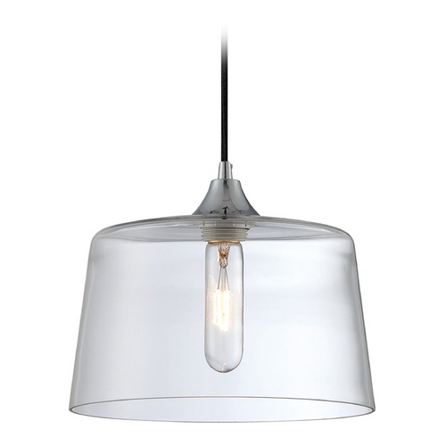 Lite Source Lighting Lite Source Lighting Daphne Chrome Mini-Pendant Light with Drum Shade LS-19107CLR