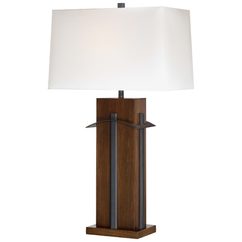 Minka Lavery Minka Walnut Table Lamp with Rectangle Shade 10033-0