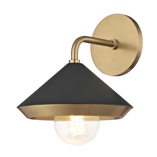 Mitzi by Hudson Valley Mid-Century Modern Sconce Brass Mitzi Marnie by Hudson Valley H139101-AGB/BK