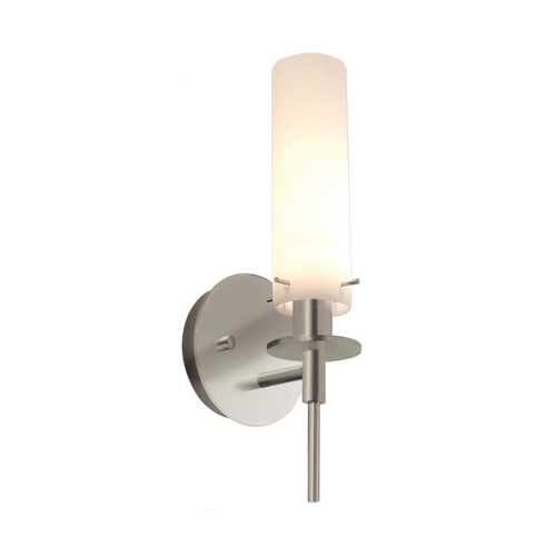 Sonneman Lighting Modern Sconce Wall Light with White Glass in Satin Nickel Finish 3031.13
