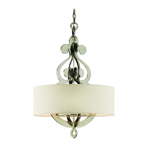 Corbett Lighting Drum Pendant Light with White Shade in Polished Nickel Finish 102-48