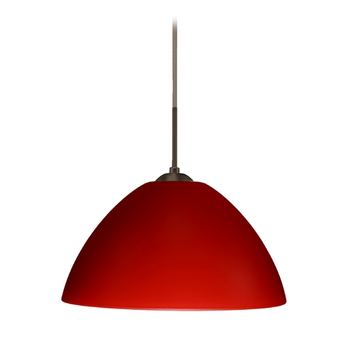 Besa Lighting Modern Pendant Light with Red Glass in Bronze Finish 1JT-420131-BR