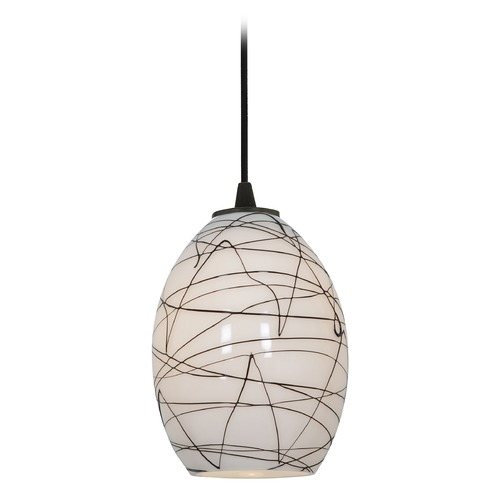 Access Lighting Modern Mini-Pendant Light with White Glass 28023-2C-ORB/BLWH