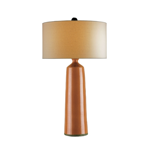 Currey and Company Lighting Modern Table Lamp with White Shade in Pumpkin Crackle/satin Black Finish 6695