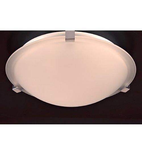 PLC Lighting Modern Flushmount Light with White Glass in Polished Chrome Finish 3453 PC