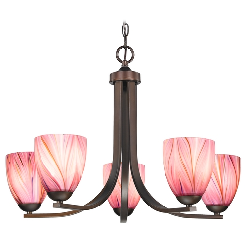 Design Classics Lighting Modern Chandelier with Pink Art Glass in Neuvelle Bronze Finish 584-220 GL1004MB