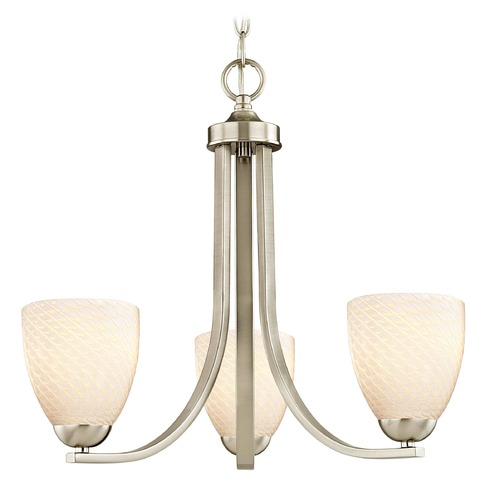 Design Classics Lighting Satin Nickel Mini-Chandelier 5843-09 GL1020MB