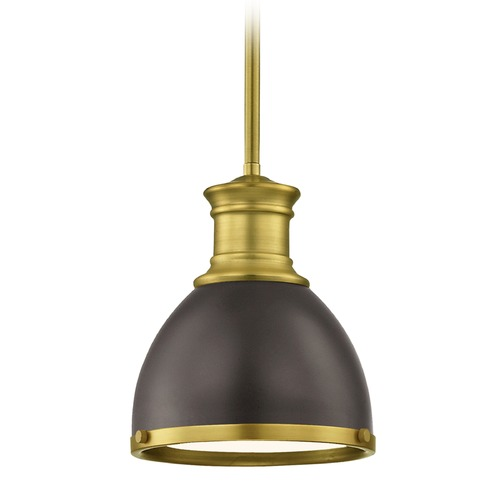 Design Classics Lighting Industrial Bronze Small Pendant Light with Brass Accents 7.38-Inch Wide 1761-12 SH1775-220 R1775-12