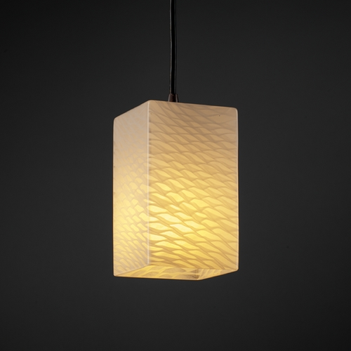 Justice Design Group Justice Design Group Fusion Collection Mini-Pendant Light FSN-8816-15-WEVE-DBRZ