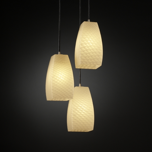 Justice Design Group Justice Design Group Fusion Collection Multi-Light Pendant FSN-8864-65-WEVE-NCKL