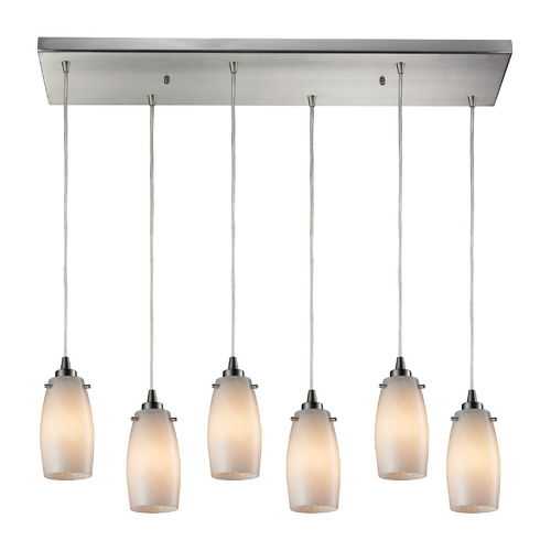 Elk Lighting Modern Multi-Light Pendant Light with Beige / Cream Glass and 6-Lights 10223/6RC-COC