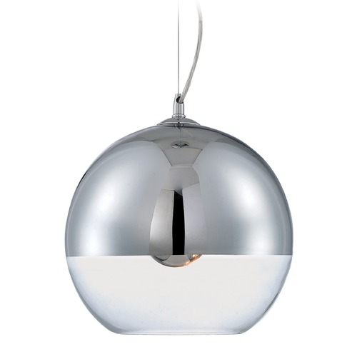 Lite Source Lighting Lite Source Telma Chrome Pendant Light with Bowl / Dome Shade LS-19108