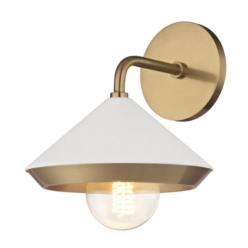 Hudson Valley Lighting Mid-Century Modern Sconce Brass Mitzi Marnie by Hudson Valley H139101-AGB/WH