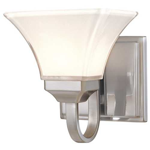 Minka Lavery Modern Sconce with White Glass in Brushed Nickel Finish 6811-84