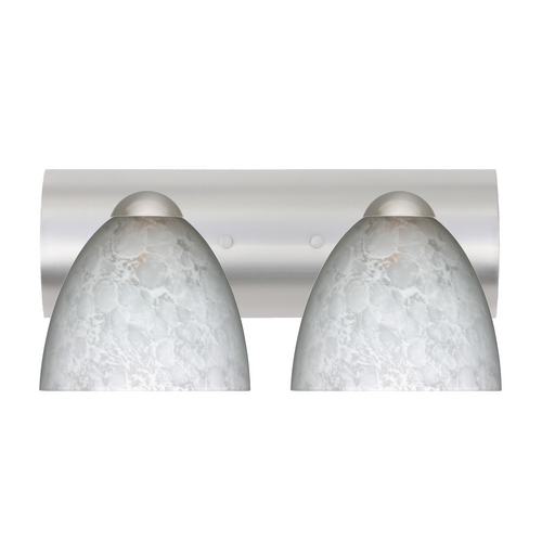 Besa Lighting Modern Bathroom Light with White Glass in Satin Nickel Finish 2WZ-757219-SN
