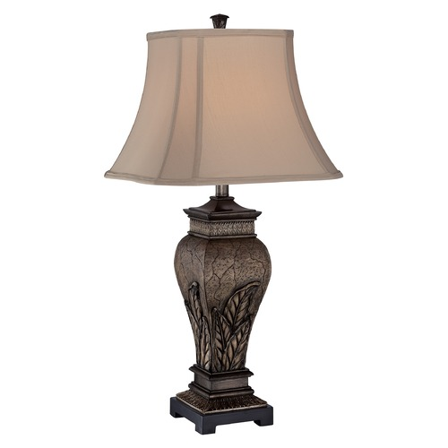 Lite Source Lighting Table Lamp with Grey Shade in Aged Silver Finish C41225