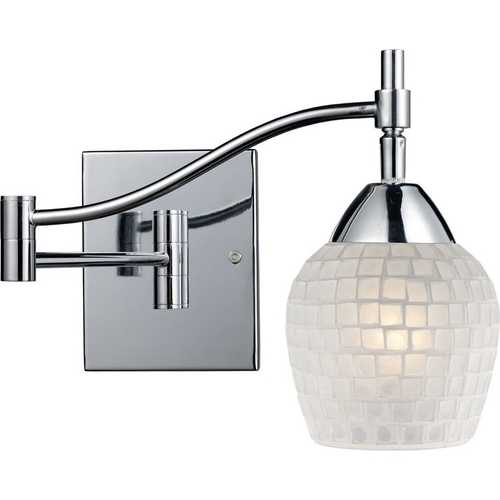 Elk Lighting Swing Arm Lamp with Art Glass in Polished Chrome Finish 10151/1PC-WHT