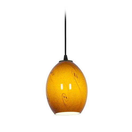 Access Lighting Modern Mini-Pendant Light with Amber Glass 28023-2C-ORB/ASKY