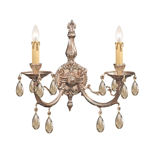 Crystorama Lighting Crystal Sconce Wall Light in Olde Brass Finish 492-OB-GTS