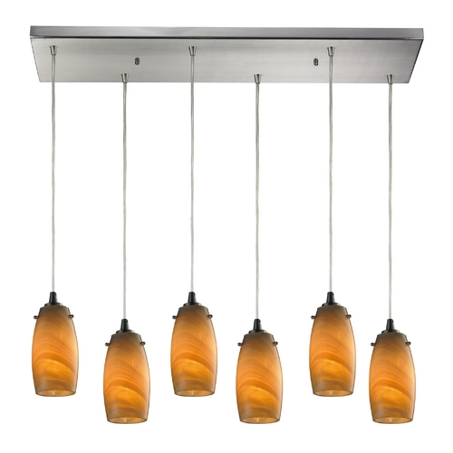 Elk Lighting Modern Multi-Light Pendant Light with Brown Glass and 6-Lights 10223/6RC-MEL