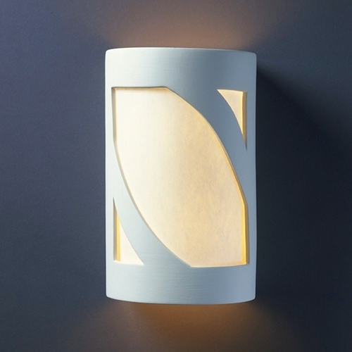 Justice Design Group Outdoor Wall Light with White in Bisque Finish CER-7345W-BIS