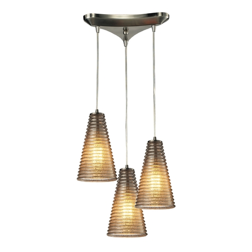 Elk Lighting Modern Multi-Light Pendant Light with Grey Glass and 3-Lights 10333/3