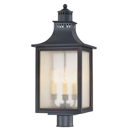 Savoy House Pale Cream Seeded Glass Post Light Black Savoy House 5-255-25