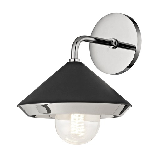 Mitzi by Hudson Valley Mid-Century Modern Sconce Polished Nickel Mitzi Marnie by Hudson Valley H139101-PN/BK