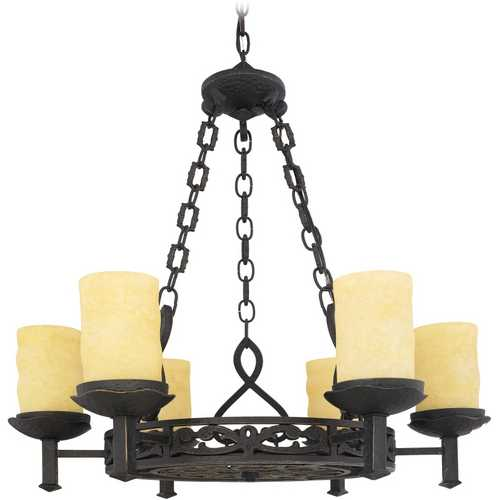 Quoizel Lighting Chandelier with Amber Glass in Imperial Bronze Finish LP5006IB
