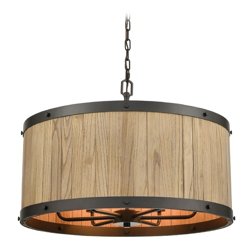 Elk Lighting Elk Lighting Wooden Barrel Oil Rubbed Bronze, Natural Wood Chandelier 33366/6