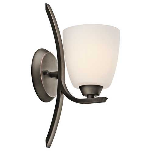 Kichler Lighting Kichler Sconce Wall Light with White Glass in Olde Bronze Finish 45358OZ