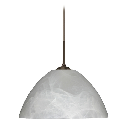 Besa Lighting Modern Pendant Light with Grey Glass in Bronze Finish 1JT-420152-BR