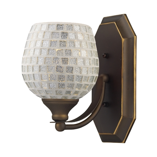 Elk Lighting Sconce with Art Glass in Aged Bronze Finish 570-1B-SLV