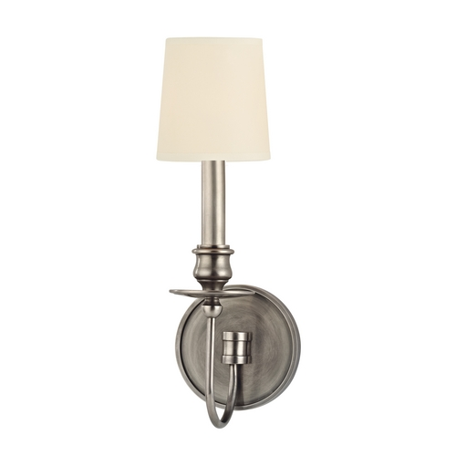 Hudson Valley Lighting Sconce Wall Light with Beige / Cream Paper Shade in Aged Silver Finish 8211-AS