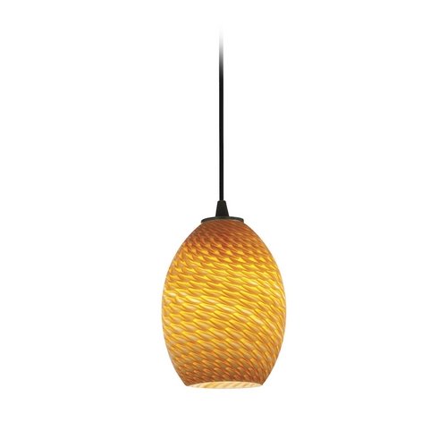 Access Lighting Modern Mini-Pendant Light with Amber Glass 28023-2C-ORB/AMBFB