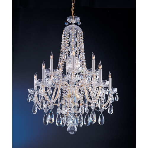 Crystorama Lighting Crystal Chandelier in Polished Brass Finish 1110-PB-CL-S