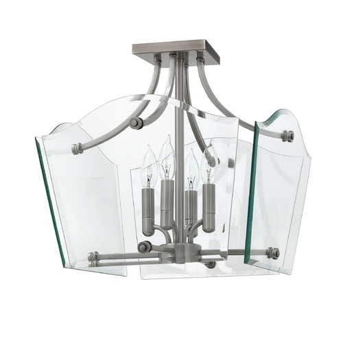 Hinkley Lighting Modern Semi-Flushmount Light with Clear Glass in Polished Antique Nickel Finish 3001PL