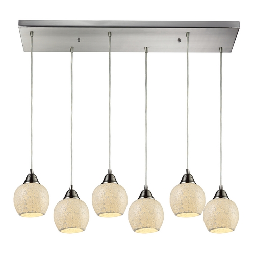 Elk Lighting Modern Multi-Light Pendant Light with Beige / Cream Glass and 6-Lights 10208/6RC-CLD