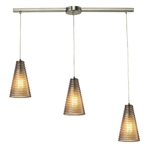 Elk Lighting Modern Multi-Light Pendant Light with Grey Glass and 3-Lights 10333/3L