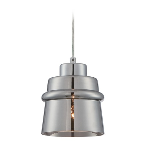 Lite Source Lighting Lite Source Sparta Chrome Mini-Pendant Light with Drum Shade LS-19141