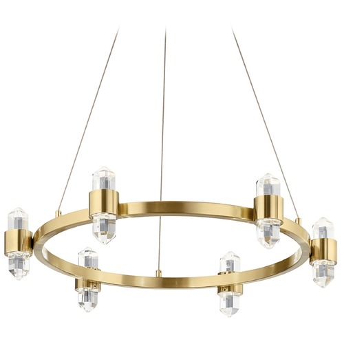 Elan Lighting Arabella 12-Light Champagne Gold LED Chandelier with Clear Crystal 3000K 152.08LM 84066CG